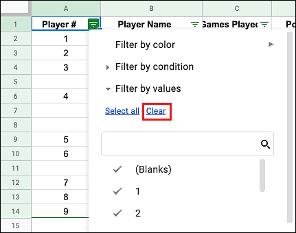 Clear Filtered Data in Google Sheets