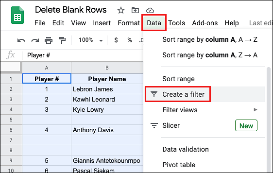 Create a Filter in Google Sheets