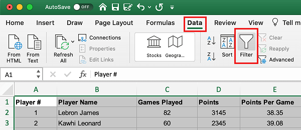 Create a Filter in Excel