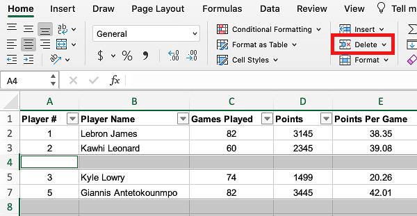 Delete Option in Excel