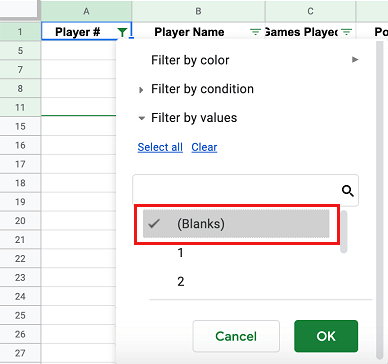 Display Blank Rows in Google Sheets