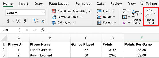 Find and Select Option in Excel