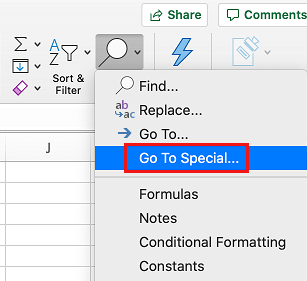 Go to Special Option in Excel