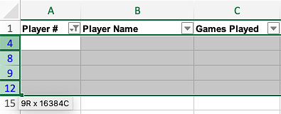 Select Blank Rows in Excel