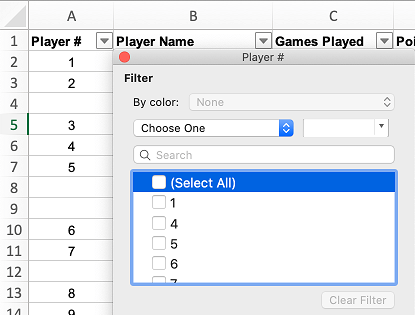 Uncheck Select All Option in Excel
