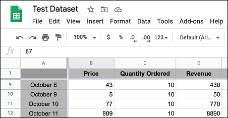 Frozen Rows and Columns in Google Sheets
