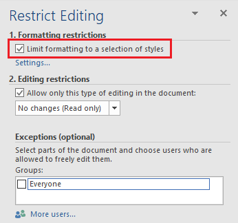 Limit Formatting to a Selection of Styles in Word