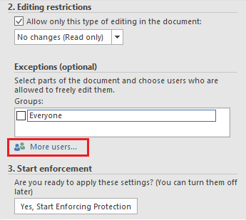 More Users Options in Restrictions Menu in Word