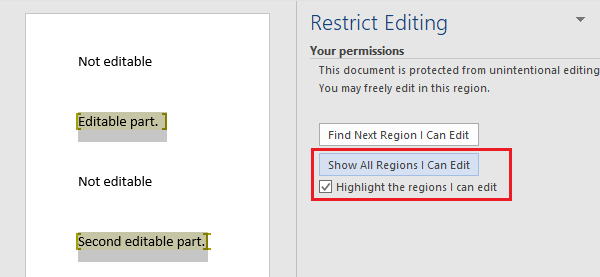 Show All Regions I can Edit Option in Word