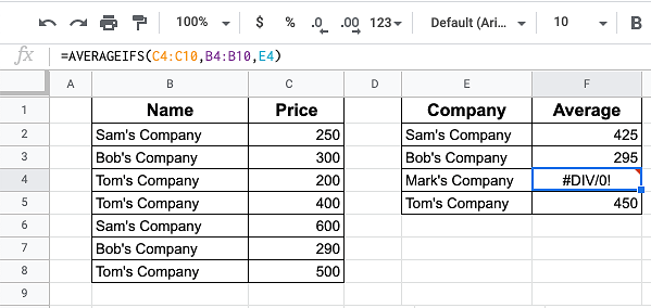 #DIV/0! Error From AverageIfs Formula
