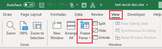 View Freeze Panes Tab in Excel