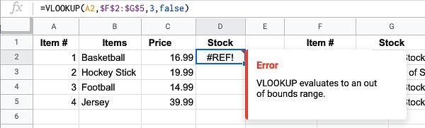 #REF Error From VLOOKUP Formula in Google Sheets