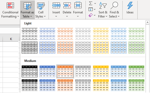 Alternate Colored Rows Options in Excel