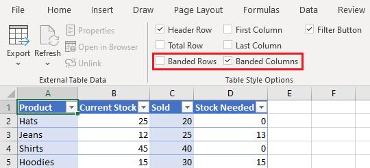 Color Alternate Columns in Excel