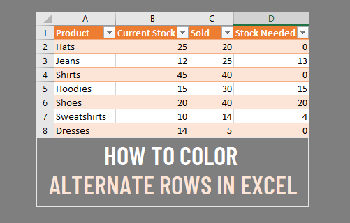 Color Alternate Rows in Excel