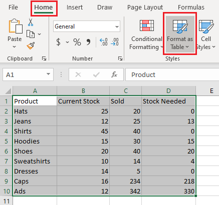 Format as Table Option in Excel
