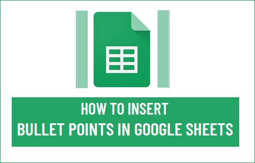 Insert Bullet Points in Google Sheets