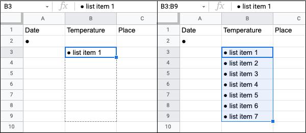 Multiple Bullet Points in Google Sheets