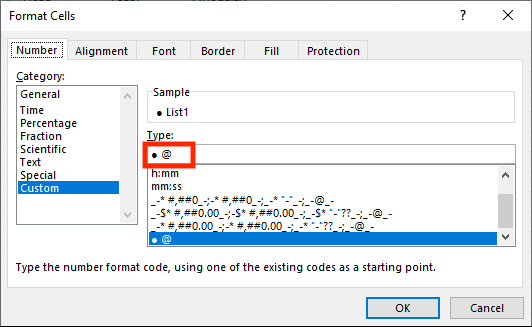 Custom Format Bullet Points in Excel