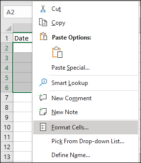 Format Cells Option in Excel