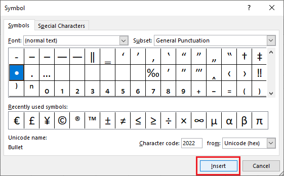 Insert Bullet Point in Excel