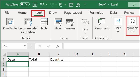 Insert Symbol Option in Excel